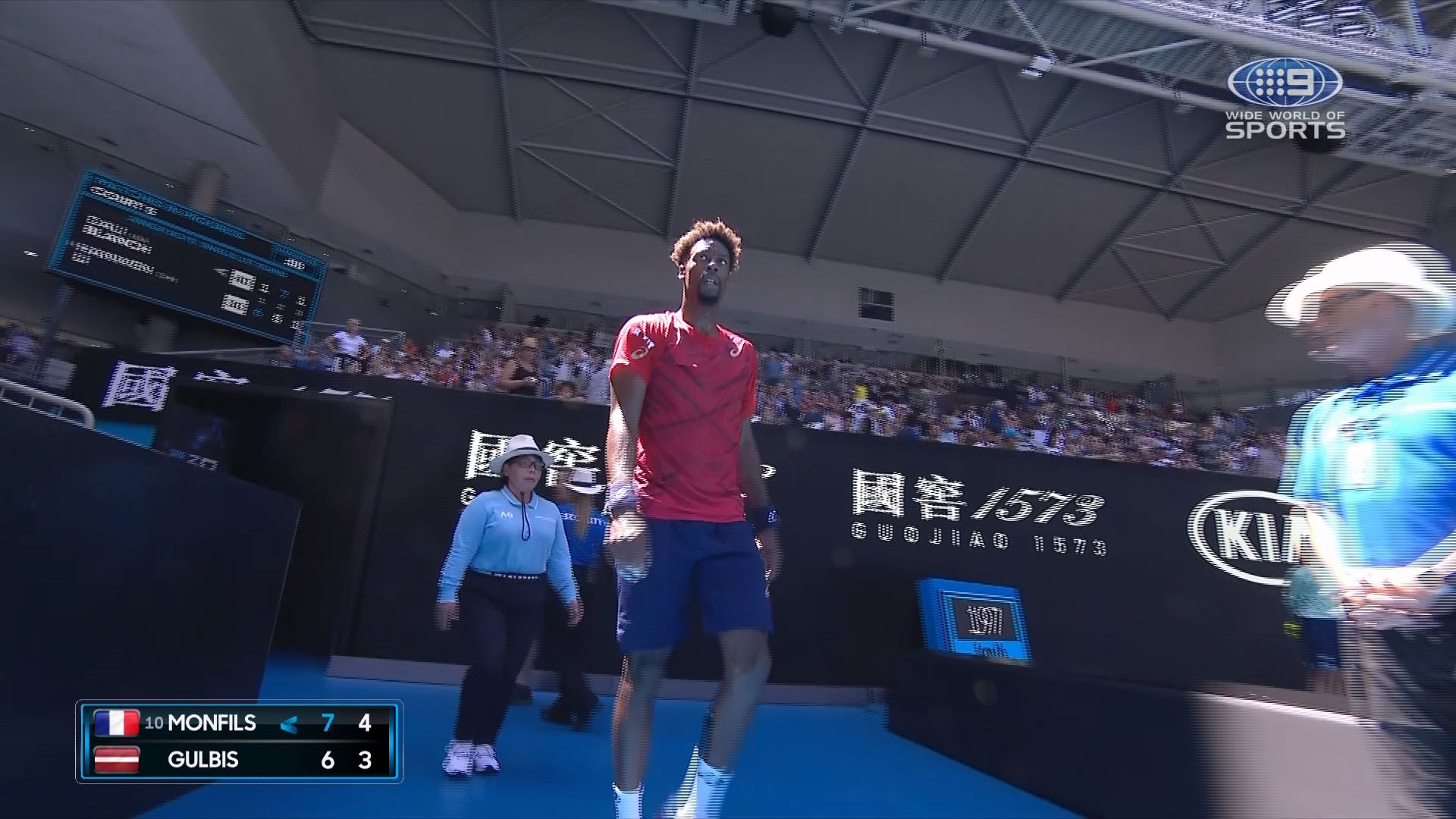Gael Monfils through to third-round after stunning commentators with 'bizarre' mid-match exit