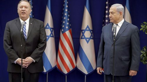 U.S. Secretary of State Mike Pompeo, left, and Israeli Prime Minister, Benjamin Netanyahu, stand during statements to the press
