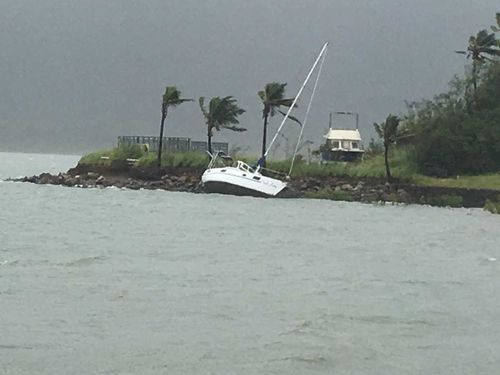 A yacht slipped its mooring at Shute Harbour in the Whitsundays (9NEWS)