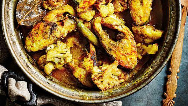 Anjum Anand's one-pan Bengali sea bream with cauliflower recipe