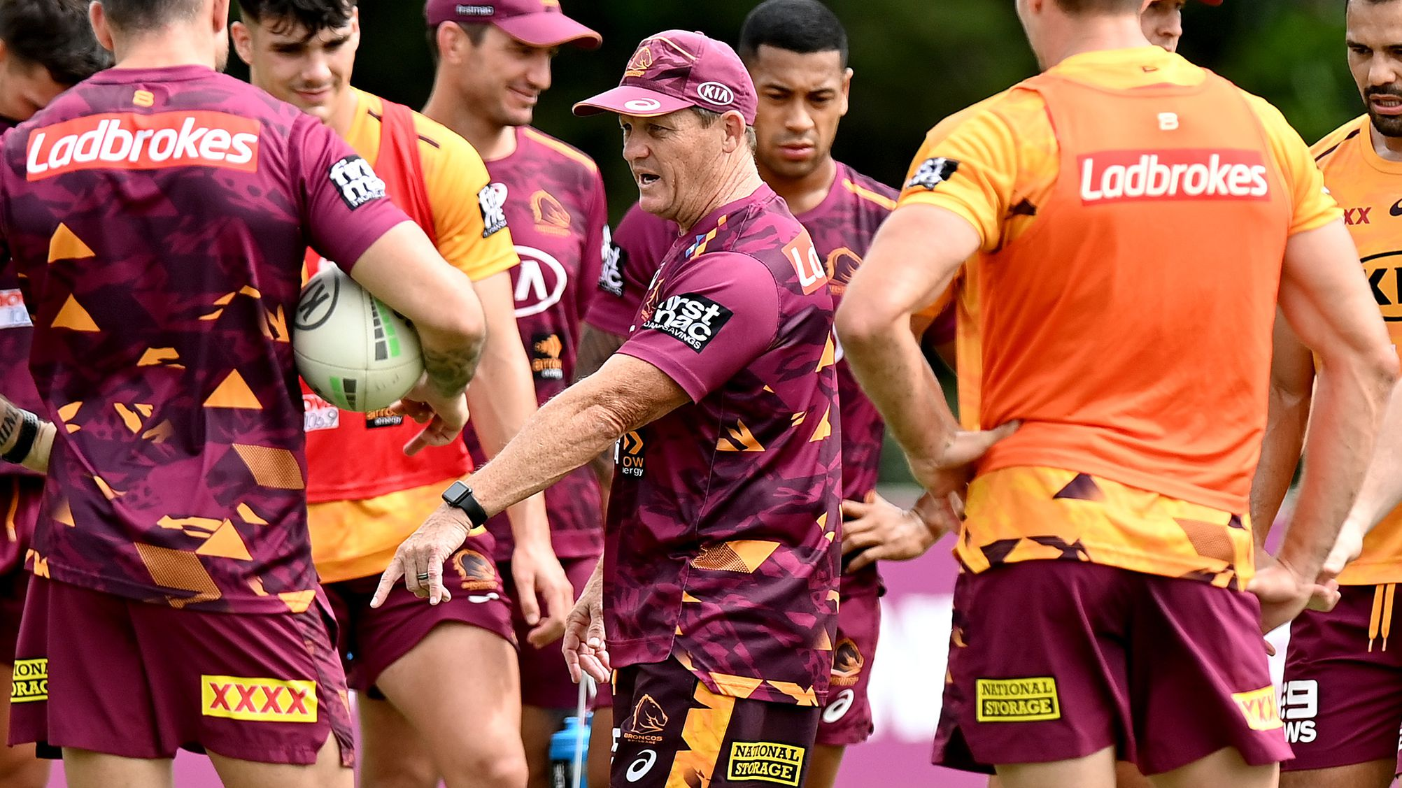 Coach Kevin Walters instructs the players during a Brisbane Broncos NRL training session.