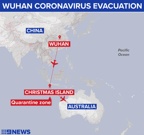 Australians in Wuhan will be taken to Christmas Island for quarantine.