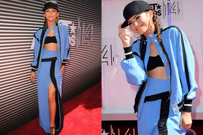 Talk about a fash-statement! Zendaya looks super-stylin' in powder blue... just hours after dropping out of <i>Aaliyah</i> biopic. <br/><br/>No tears here!