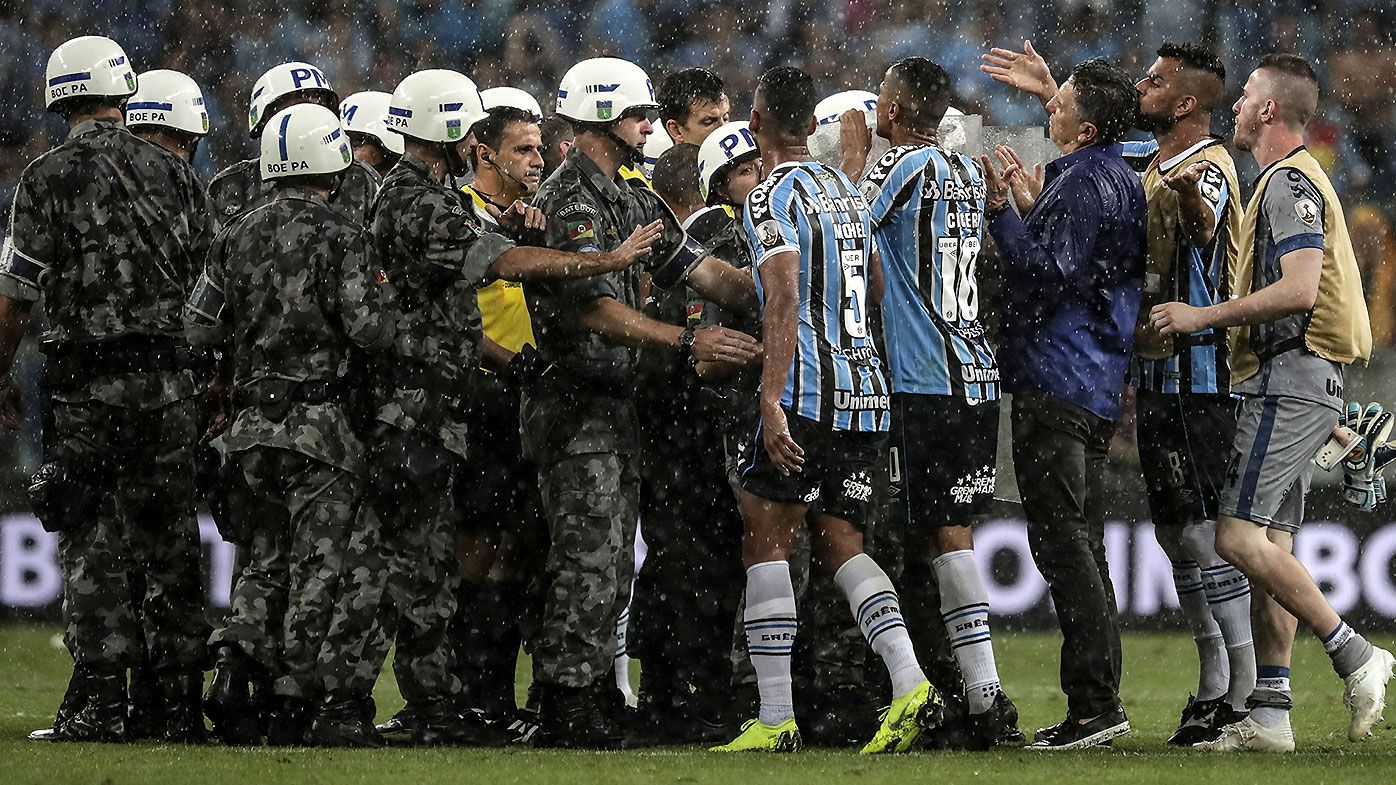 Riot police called as Copa Liberdatores semi final descends into madness after VAR controversy