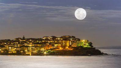 Supermoon over Bondi Beach