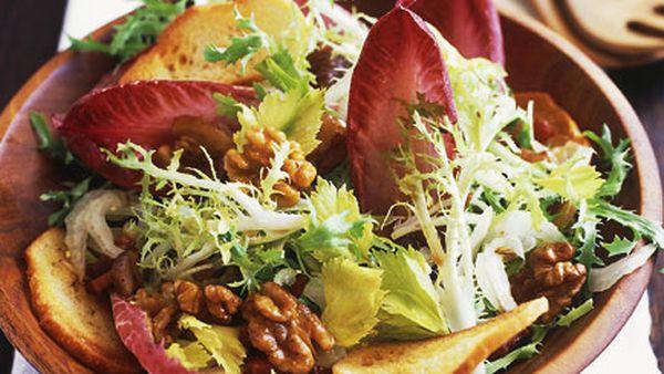 Walnut, chestnut and pancetta salad