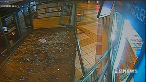 Before 5am, two men smashed a truck into the Keysborough centre before it became wedged next to a lotto newsagent.