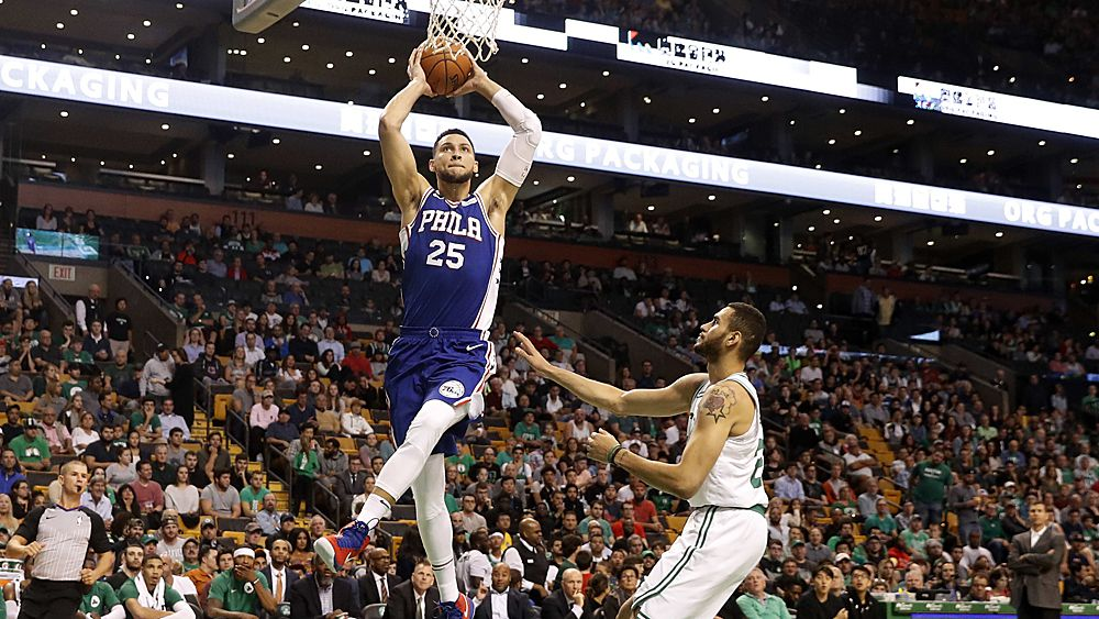 NBA: Ben Simmons fires in Philadelphia 76ers warm-up but Boston's Aussie Aron Baynes hurt