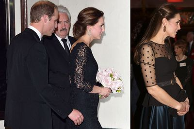 Duchess Catherine is the epitome of British sophistication in elegant, sheer black.
