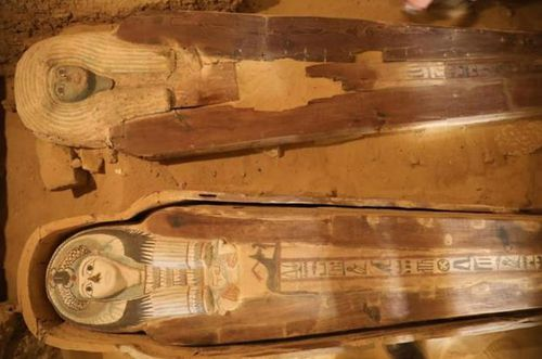 Two highly-decorated coffins found in the Giza Plateau cemetery. Picture: Ministry of Antiquities
