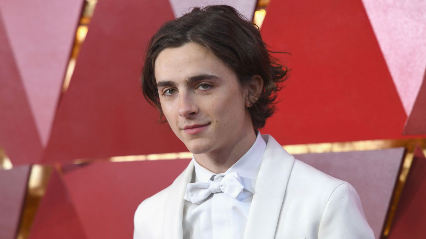 Timothee Chalamet on the Oscars red carpet. Image Getty