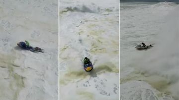 """Lucas """"Chumbo"""" Chianca raced out to rescue a fellow surfer, only to have his jet ski overturned. (The Big Ugly)"""