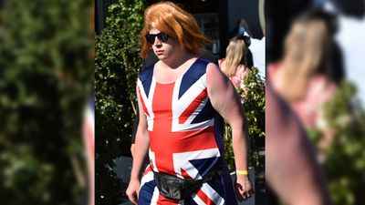 <p>Racegoers trotted out colourful costumes and strange new selfie poses for the Caulfield Cup in Melbourne today.</p><p>Here, one racegoer sports a sunburn after embracing Ginger Spice's classic look. </p><p><strong>Click through the gallery to see more of their amusing takes on spring racing high fashion</strong>.</p><p>(AAP)</p>