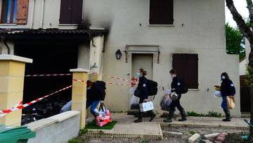Forensics arrive at the house where a 31-year-old French mother of three was burned alive by her husband, on May 5, 2021 in Merignac.