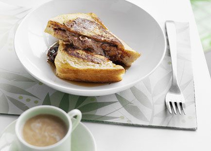 French-toasted chocolate and banana sandwiches