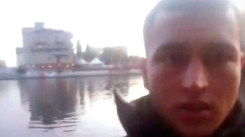 A still from a selfie video the suspect took near the scene. He is believed to have later taken one inside the truck.