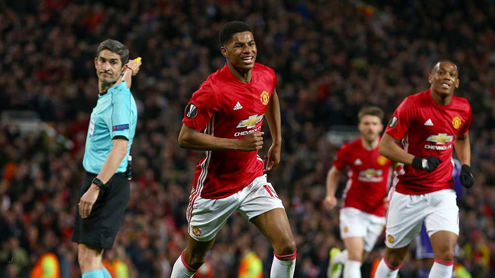 Marcus Rashford scored the winner for Manchester United in the Europa League. (AAP)