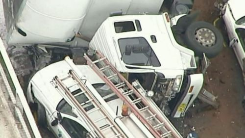 Two police officers were seriously injured in the accident. (9NEWS)