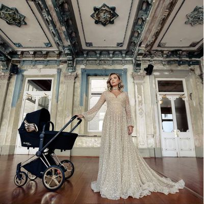 <p>Angelic: Melbourne-based fashion entrepeneur and Insta personality, Rozalia Russian, helps launch the pram in Australia.</p>