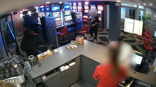 The patron was in the gaming room of the venue when the bandit stormed in with a large machete