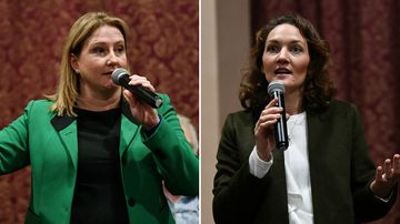 Rebekah Sharkie from the Centre Alliance Party, and Liberal candidate Georgina Downer, are the frontrunners in the Mayo by-election. (AAP)