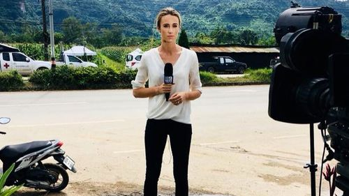 9NEWS reporter Alice Monfries on the ground at the Thai cave rescue.