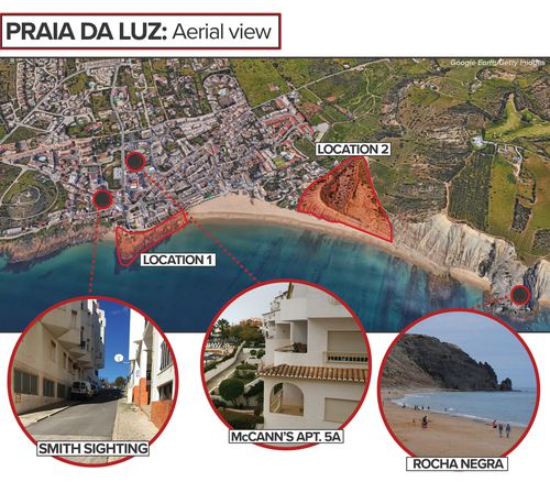 Aerial map of Praia da Luz, showing location of the McCann family apartment, the Smith sighting encounter and the Rocha Negra. Location one and two, as detailed by Pat Brown in episode 10, are also shown.
