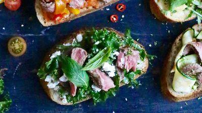 """<a href=""""http://kitchen.nine.com.au/2016/09/19/13/17/open-steak-sandwich-with-feta-mint-kale"""" target=""""_top"""">Open steak sandwich with feta, mint and kale</a>"""