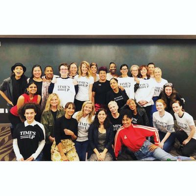 Celebrities such as Michelle Williams, Amy Poehler, Reese Withersoon, Emma Stone, Susan Sarandon and Jessica Chastain, rallying together on the morning of the Golden Globes in their Time's Up t-shirts