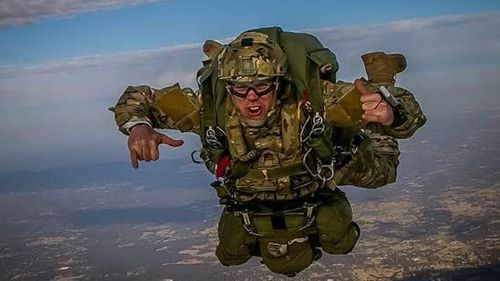 Mr Rokov developed his love of skydiving in the Army. (9NEWS)