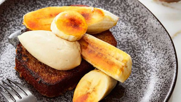Anna Polyviou's banana chai cake and caramelised banana with Expressi Chai Latte cream