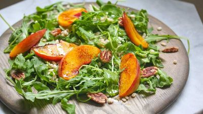 Dan Churchill's charred summer peach barley salad