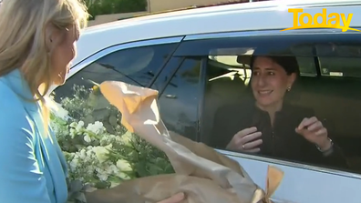 Today reporter Lara Vella surprised the politician with gifts and a band as she drove past.