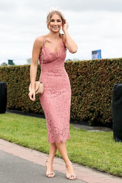 Anna Heinrich - stylish in winter pink lace.