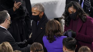 President-elect Kamala Harris and her husband Doug Emhoff talk with former President Barack Obama and his wife Michelle as they arrive for the 59th Presidential Inauguration at the U.S. Capitol in Washington, Wednesday, Jan. 20, 2021. (AP Photo/Carolyn Kaster)