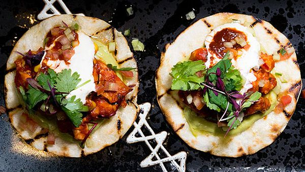 Bluetrain soft shell chicken tacos