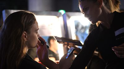 Models prepare backstage ahead of the Maticevski show (AAP)