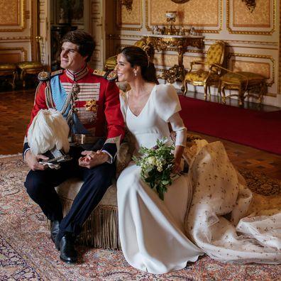 Carlos Fitz-James Stuart and Belen Corsini celebrate their wedding at the Palacio de Liria on May 22, 2021 in Madrid, Spain.