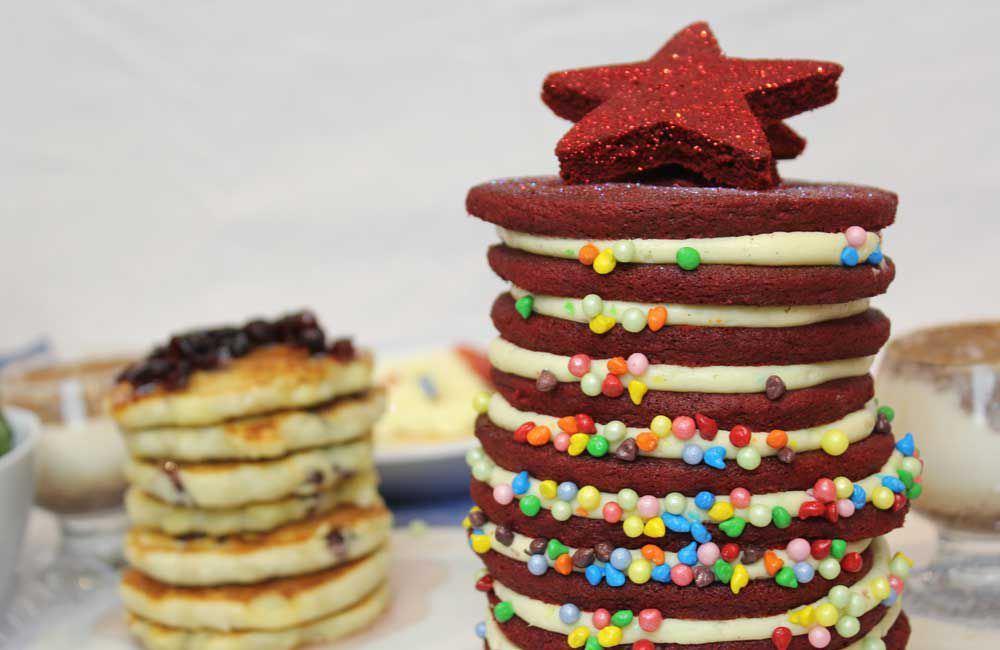 Red velvet pancake Christmas tree