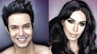 A Filipino TV host, model and actor has boasted his unique make-up skills by transforming himself into celebrities and posting the photos online. Here he is as Kim Kardashian.