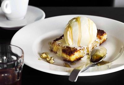 Fried custard with vanilla ice-cream and honey