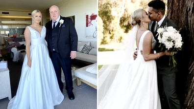 Kathryn's father Kevin (left) walked her down the aisle to meet her groom.