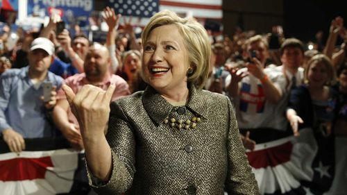 Hillary Clinton greets the crowd in Philadelphia. (AAP)