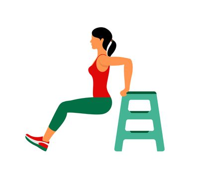 <strong>Chair dips (3 x 10)</strong>