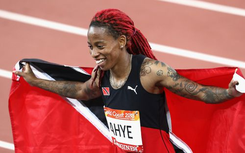 Ahye led from start to finish to win in 11.14 seconds. (Getty)