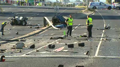 Debris was left scattered over six lanes of highway.