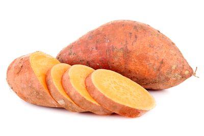 Sweet potato: 1 medium piece has 24g carbs, 4g fibre, 103 calories