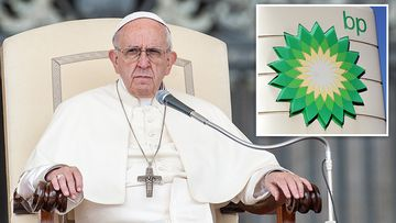"Pope Francis has warned oil executives that satisfying the globe's energy needs ""must not destroy civilisation"", calling the transition to cleaner energy sources ""a challenge of epochal proportions"". Picture: PA"