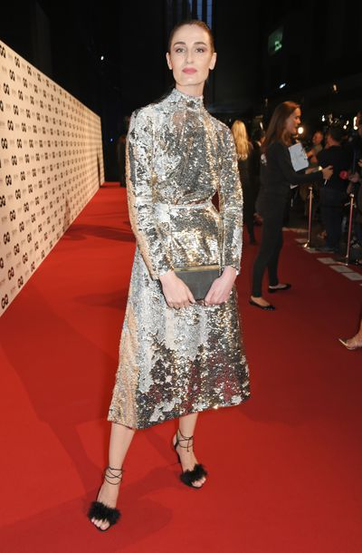 Erin O'Connor in Emilia Wickstead at the British GQ Men of the Year Awards