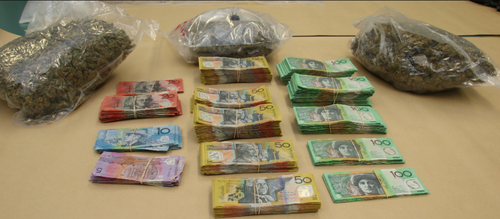 A police raid on the house allegedly uncovered $139,000 in cash and 1.5kg of cannabis in May 2017.